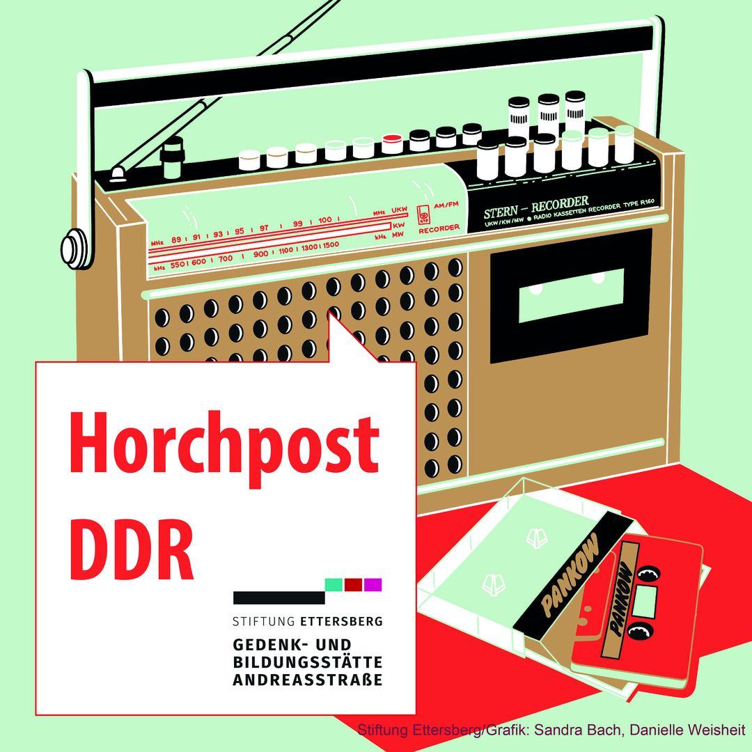 Logo der Podcast Serie, ein DDR-Radio als Zeichnung